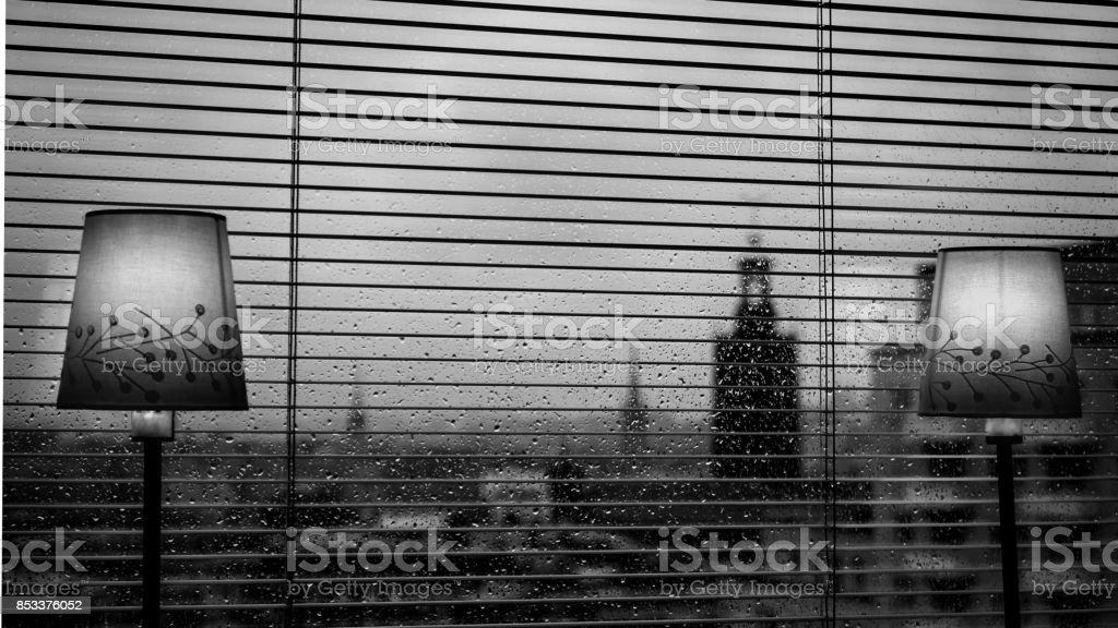 Rainy day in Stockholm stock photo