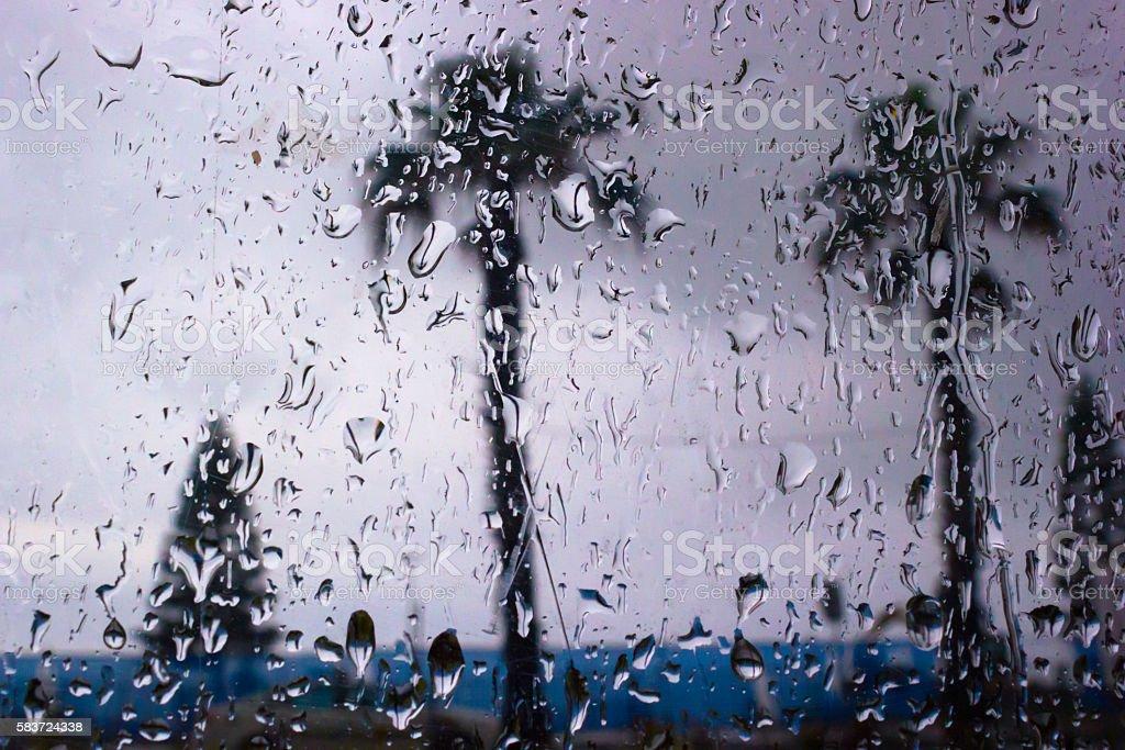 rainy day in the beach stock photo