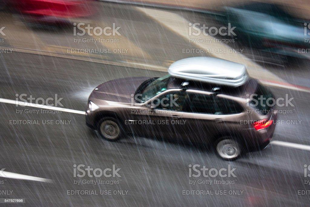 Rainy day in the city stock photo