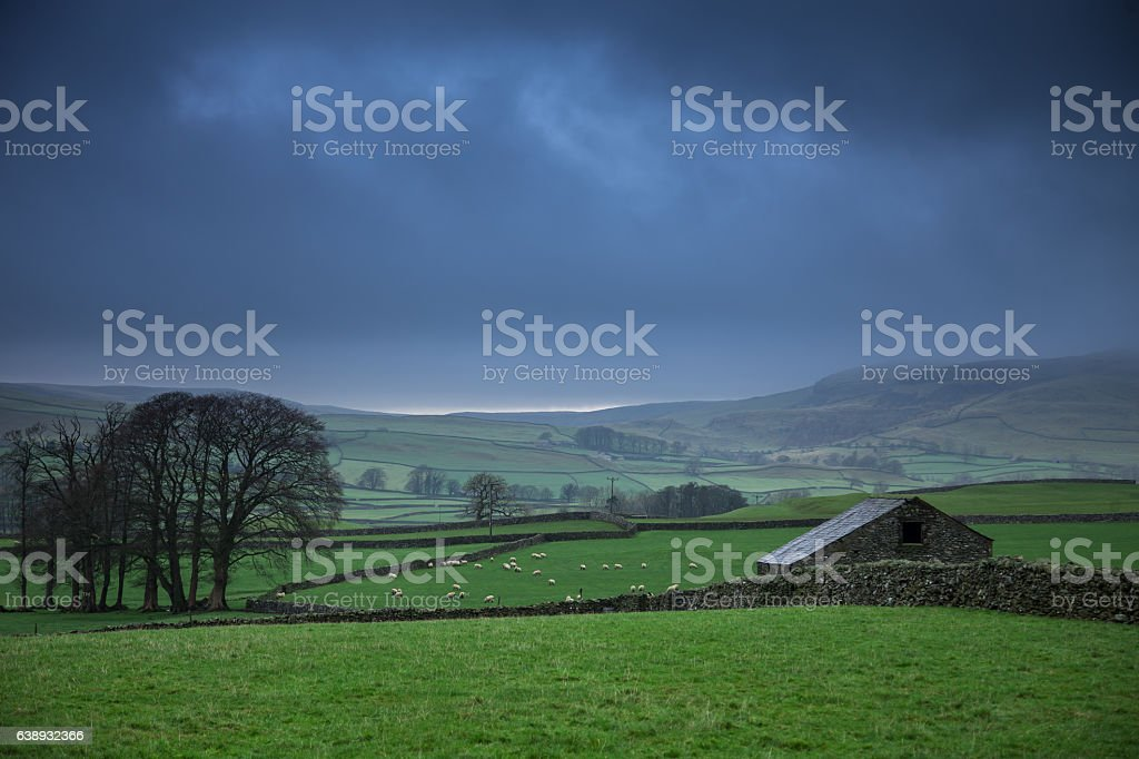 Rainy Day in Yorkshire Dales stock photo