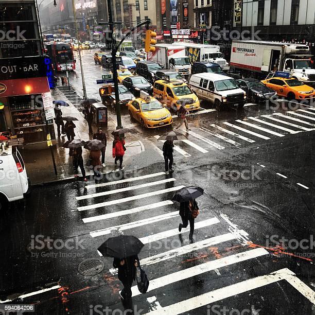 Rainy Day On Manhattan New York City Stock Photo - Download Image Now