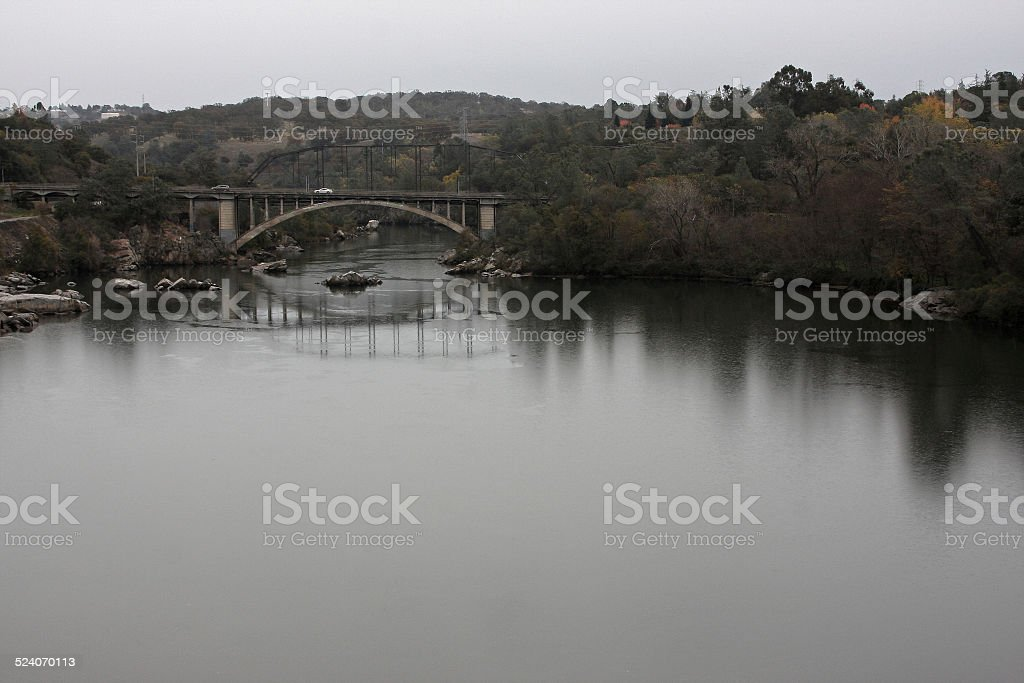 Rainy Day on the American River at Folsom stock photo