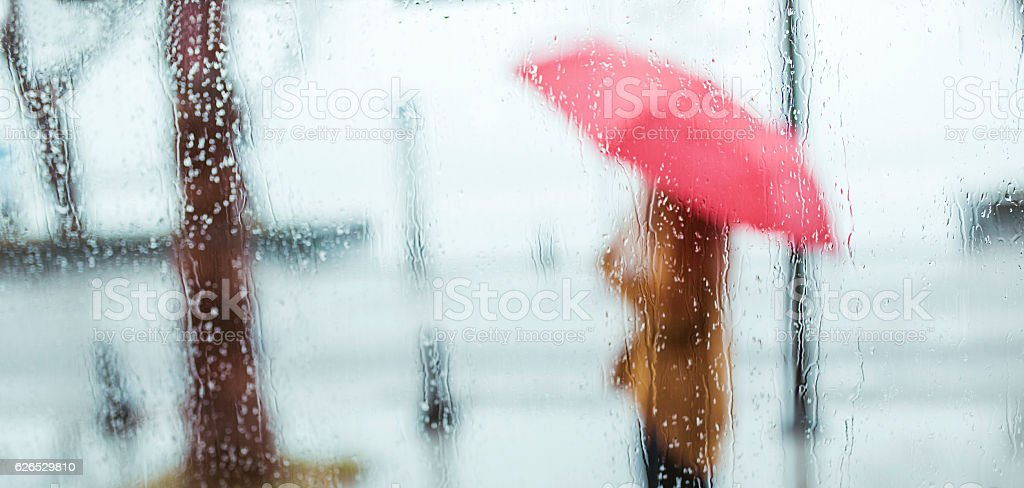 Rainy Day Outdoor silhouette stock photo