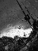 drops of water-repellent surface in black white
