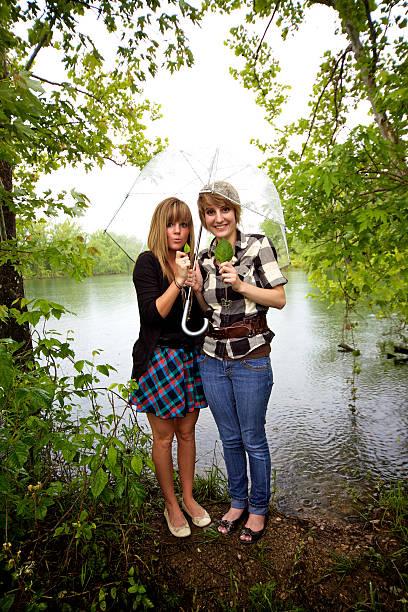 rainy day portraits stock photo