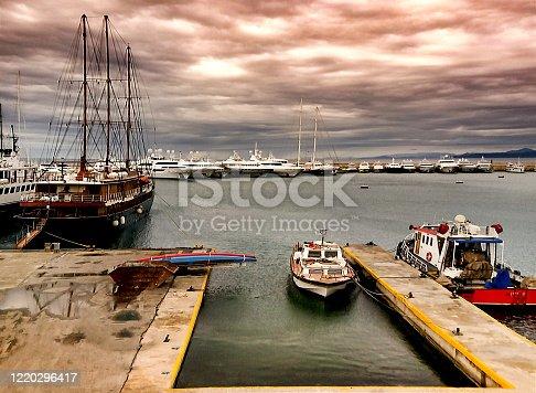 A rainy day.Yachts at the dock.Marina Zeas, Piraeus,Greece