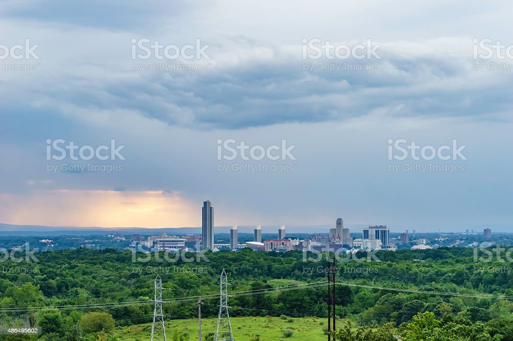 Rainy evening in a state capital stock photo