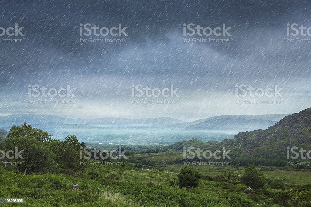 rainy landscape stock photo