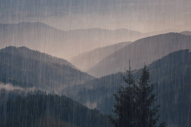 rainy mountains view. - pioggia foto e immagini stock