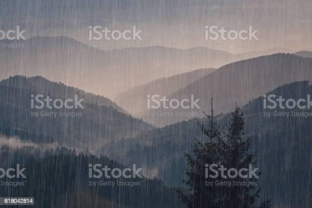 Photo of Rainy mountains view.