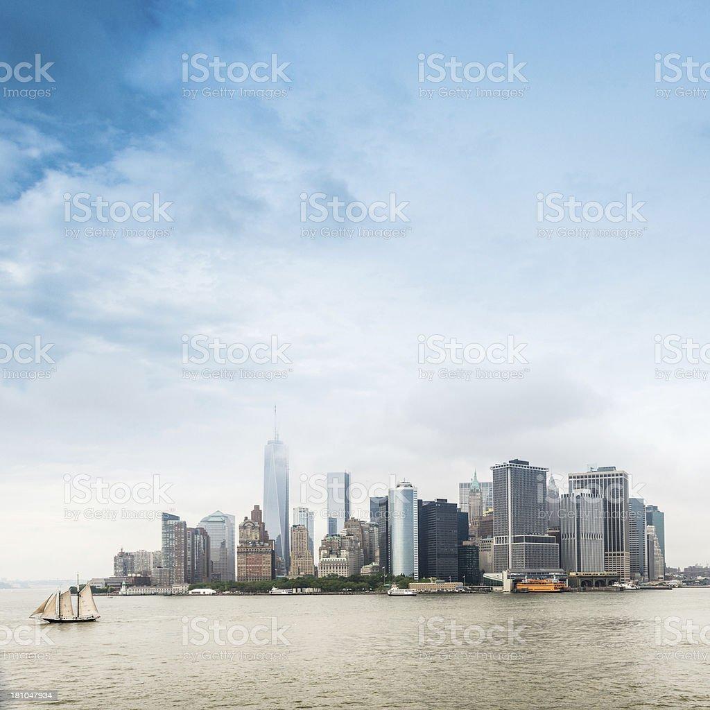 Rainy New York City Skyline royalty-free stock photo