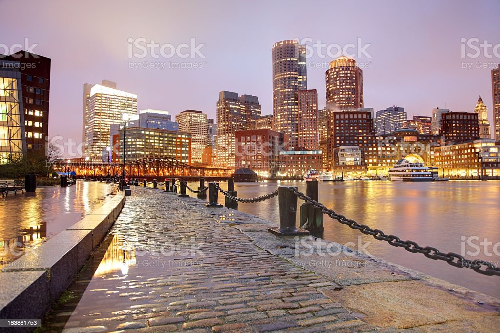Rainy Night in Boston royalty-free stock photo