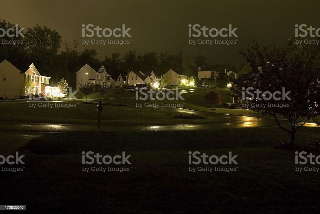 Rainy Night in Suburbia stock photo