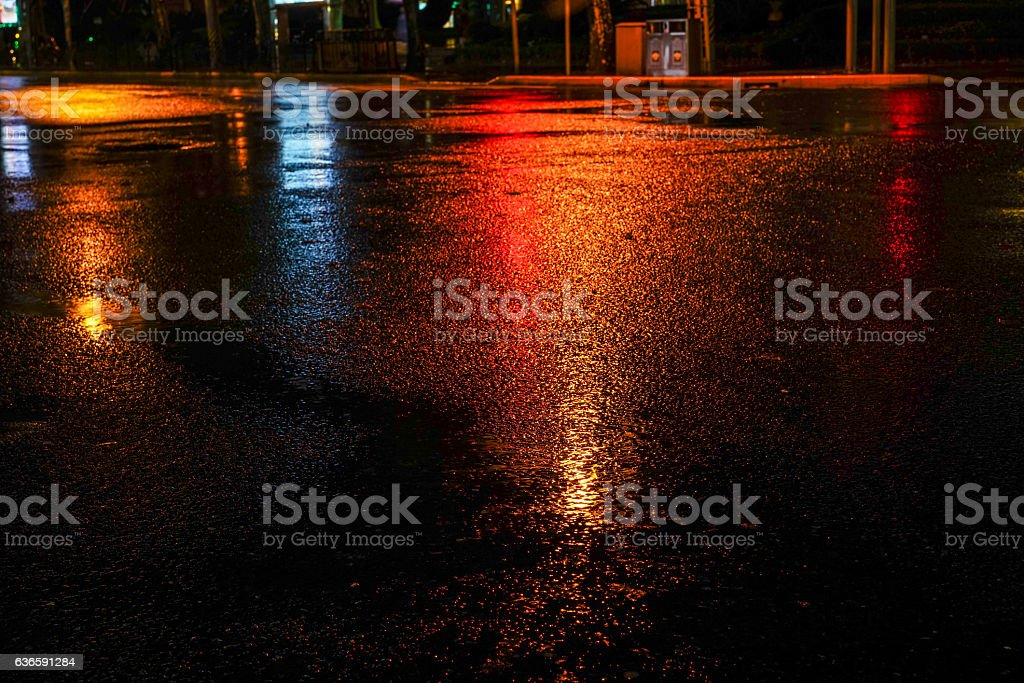 Rainy night in the big city stock photo
