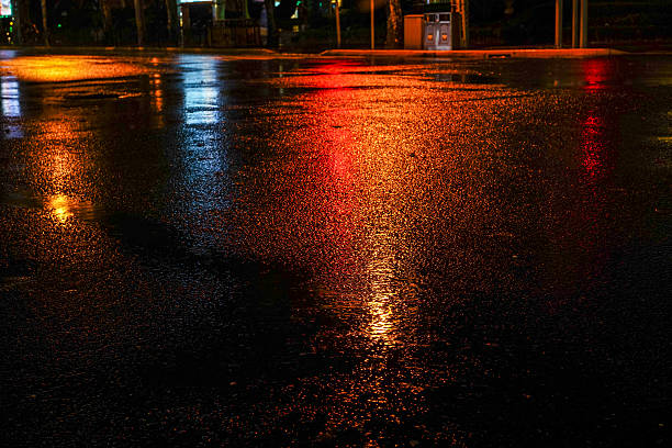 rainy night in the big city - wet stock pictures, royalty-free photos & images