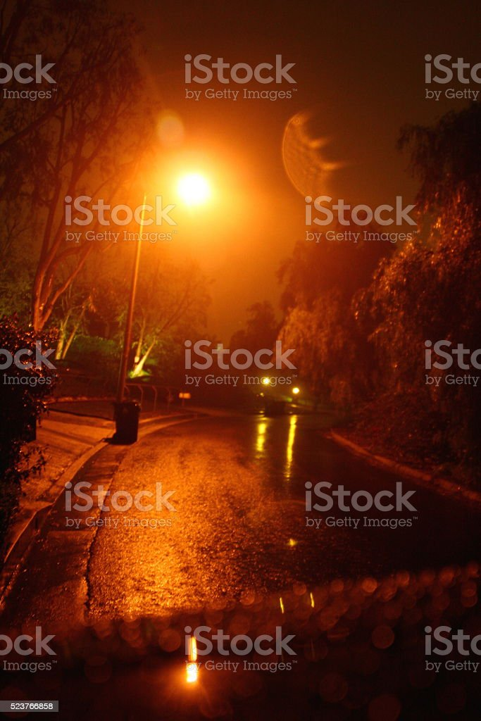 Rainy Night in the Suburbs stock photo