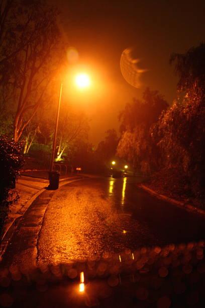 Rainy Night in the Suburbs stock photo