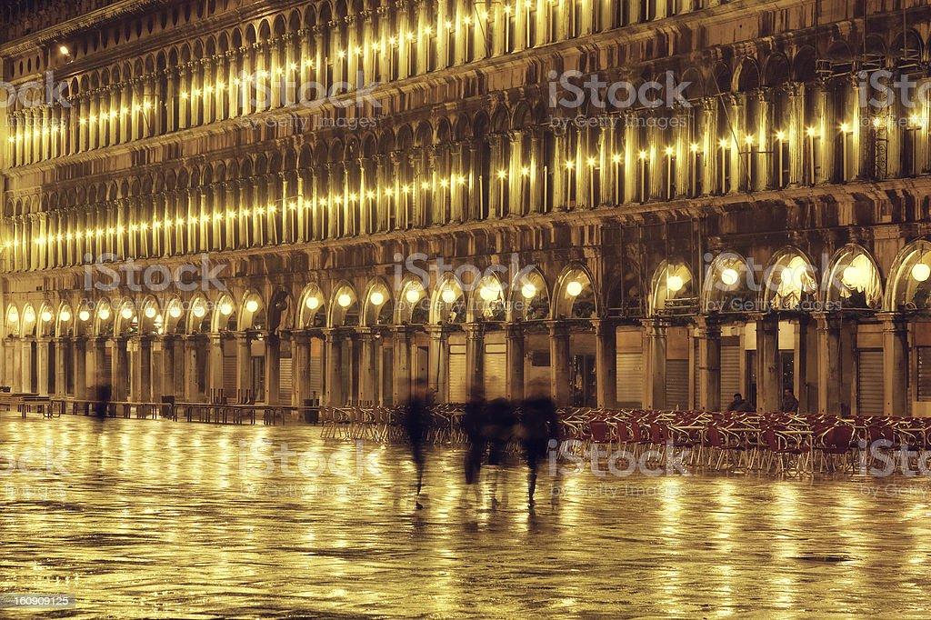 rainy night in Venice, Piazza San Marco royalty-free stock photo