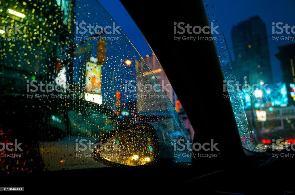 Rainy night stock photo