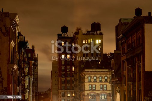 View of NoHo neighborhood on a rainy night in New York City.