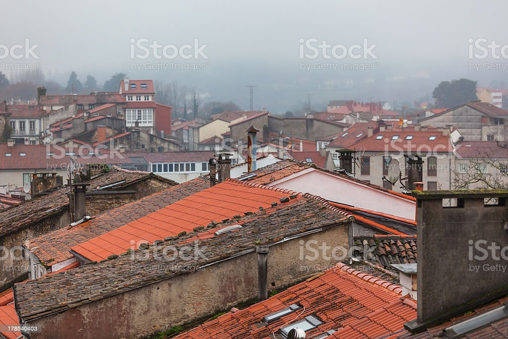 Rainy Old Town Rooftops royalty-free stock photo