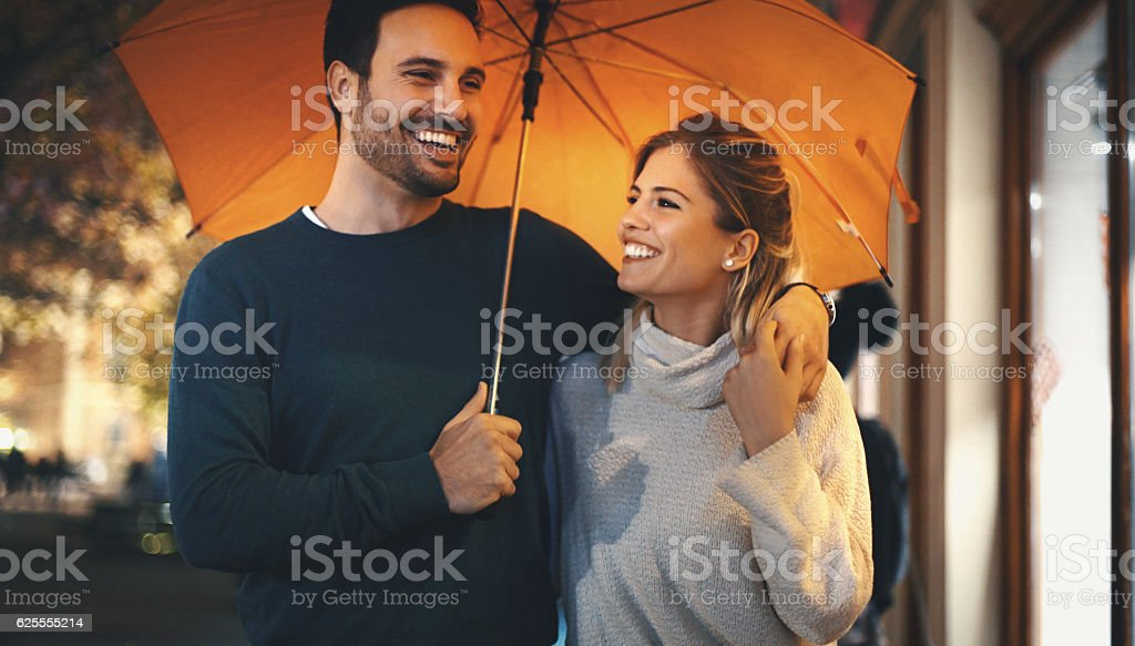 Rainy romantic night. stock photo