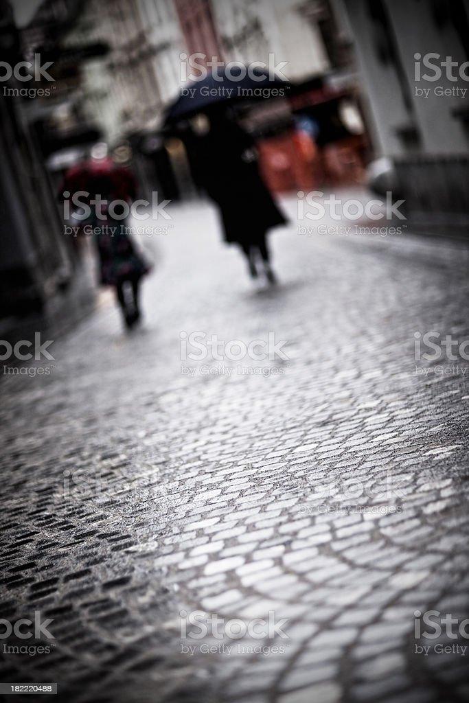 Rainy street paved with granite setts royalty-free stock photo
