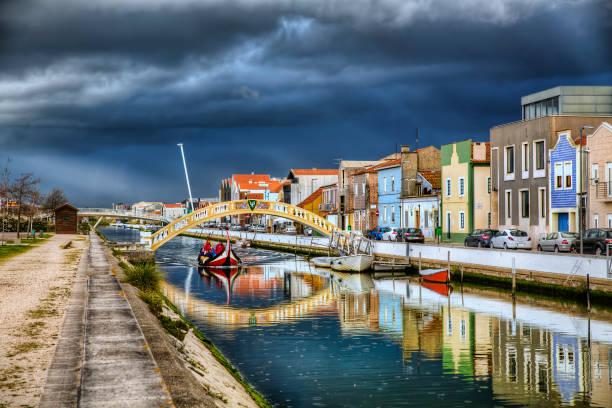 rainy weather approaching the city of aveiro, portugal - aveiro imagens e fotografias de stock