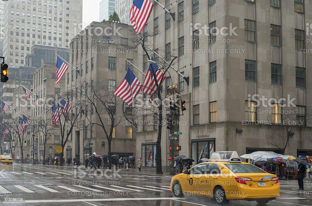 Rainy winter day on 5th Avenue in New York City stock photo