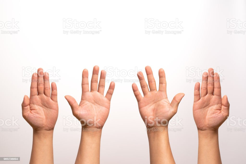 raise hand up, left and right hand raise isolate on white backgrounds in four action. royalty-free stock photo