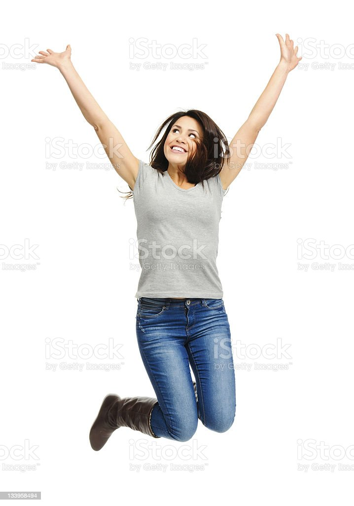 Raise your arms up stock photo
