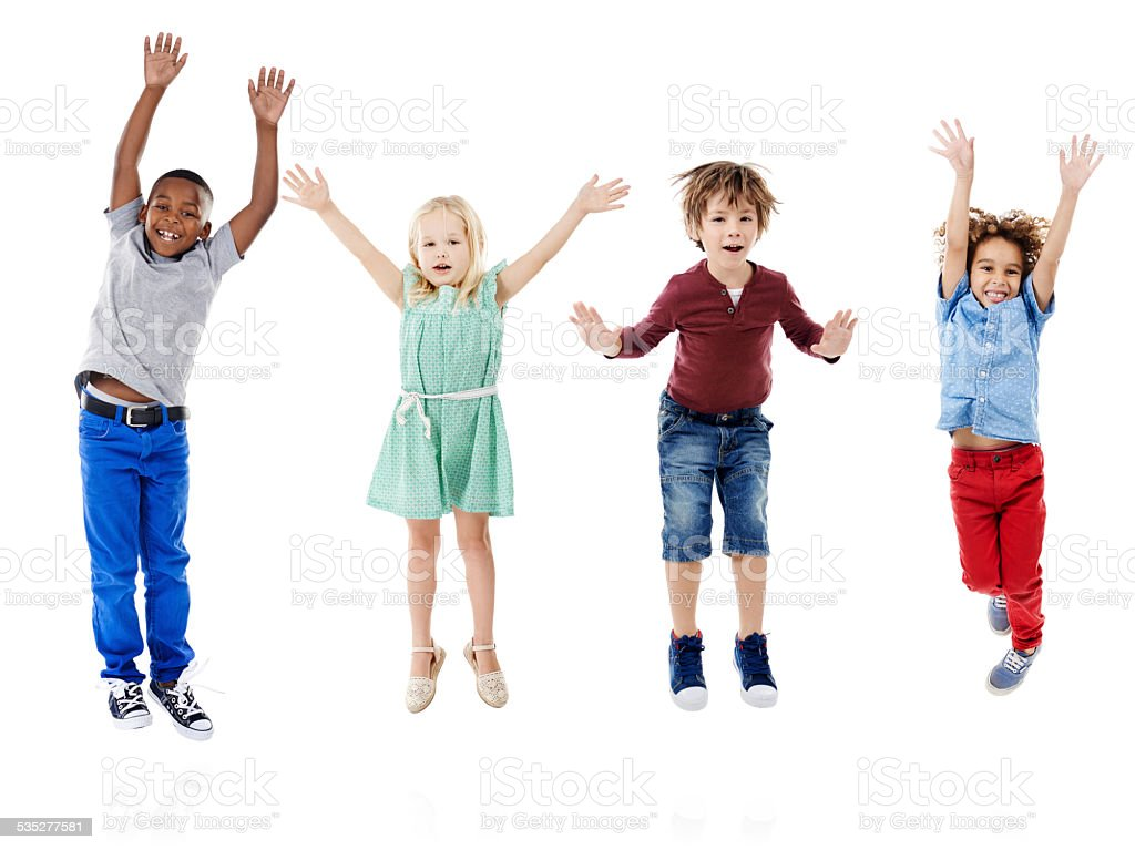 Raise your hands if you love being a kid! stock photo