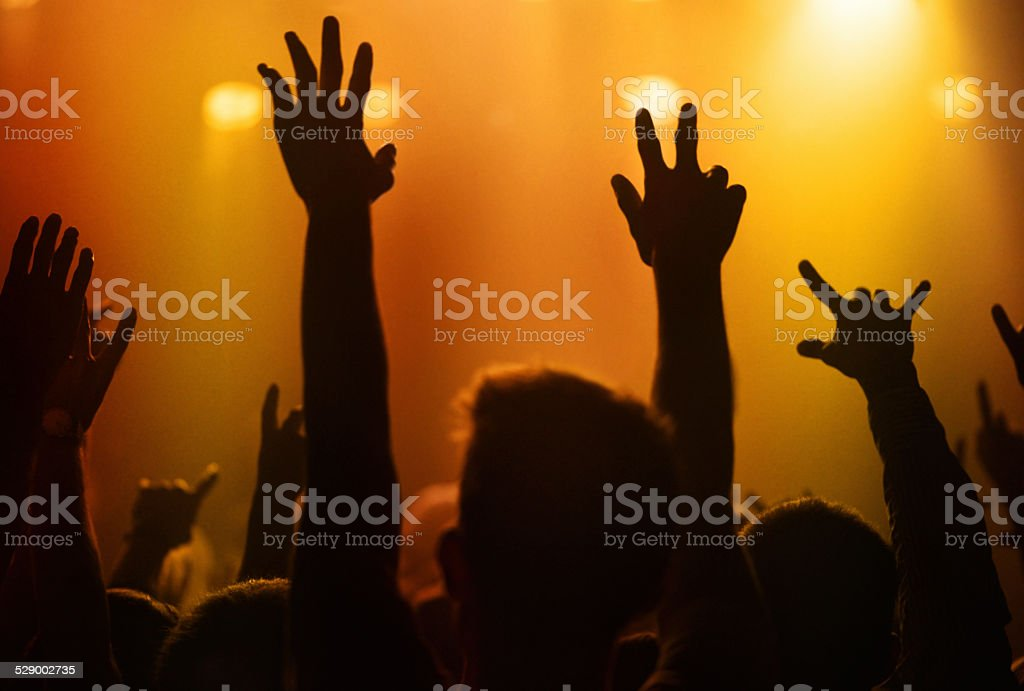Raise your hands if you love this band stock photo