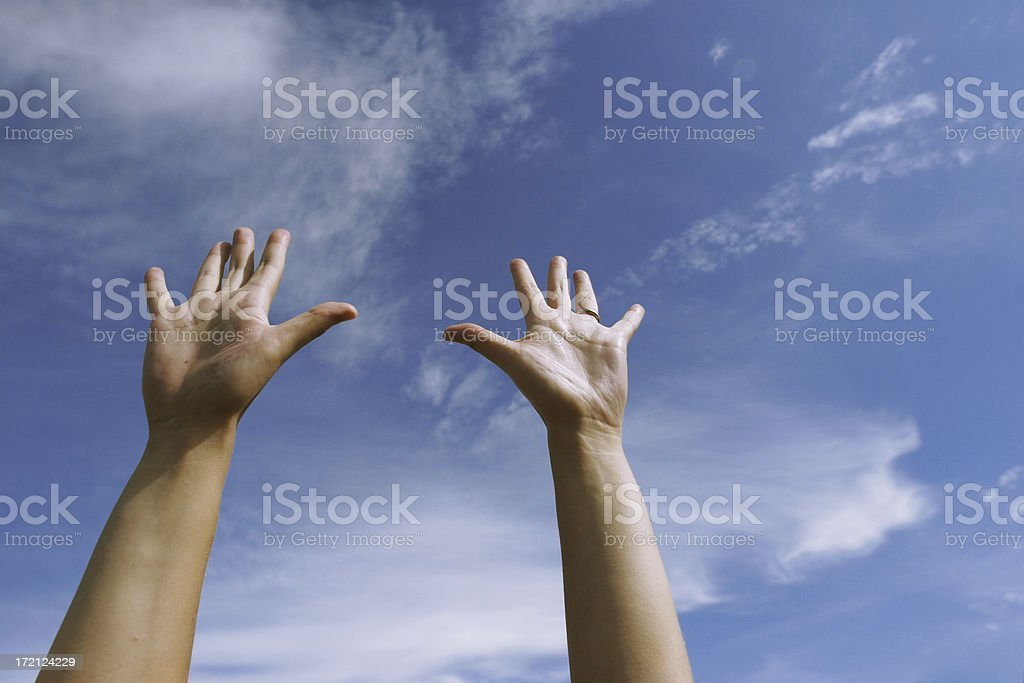 raise your hands stock photo