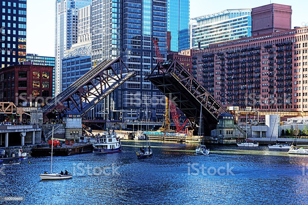 Raised Bridge and Boats, Chicago River stock photo