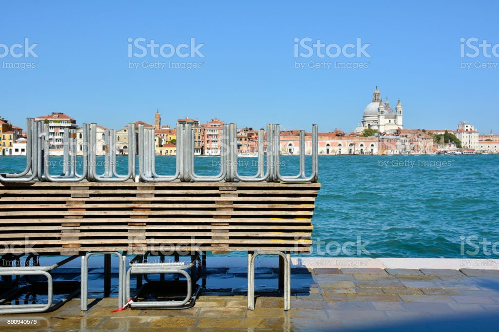 Raised Flood Walkways in Venice stock photo