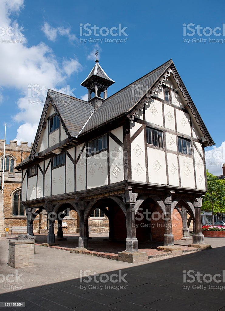Raised floor medieval school in old town royalty-free stock photo
