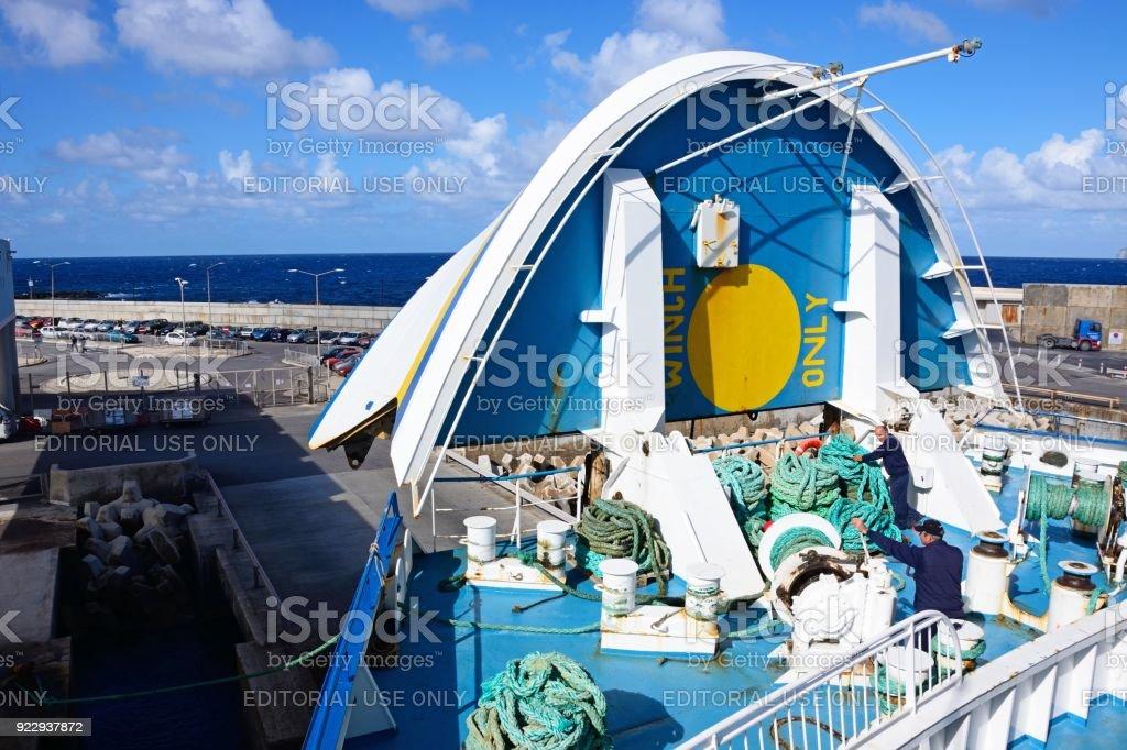 Raised front of car ferry, Malta. stock photo