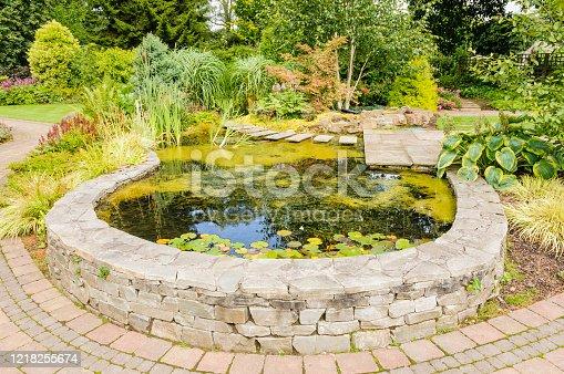 Raised garden pond in a garden