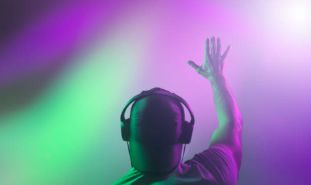 DJ raised his hand during a performance. Back view DJ raised his hand during a performance. Back view. electronic music stock pictures, royalty-free photos & images