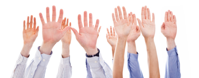 Raised Human Hands Stock Photo - Download Image Now