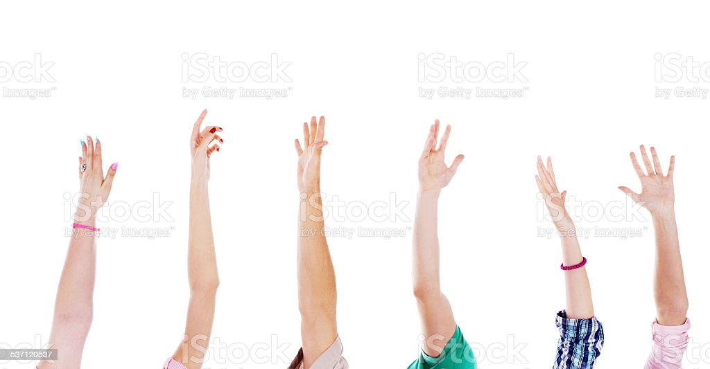 Raised human hands. stock photo