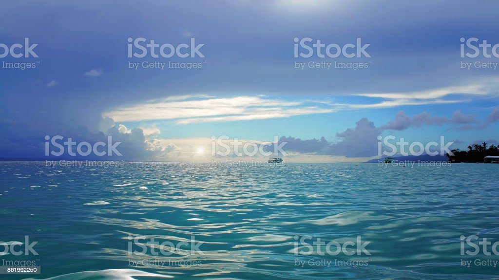 Isla Levantado scenic sunsets stock photo