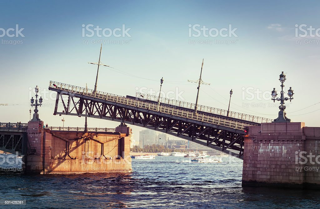 Raised Troizkiy bridge in Saint Petersburg, Russia stock photo