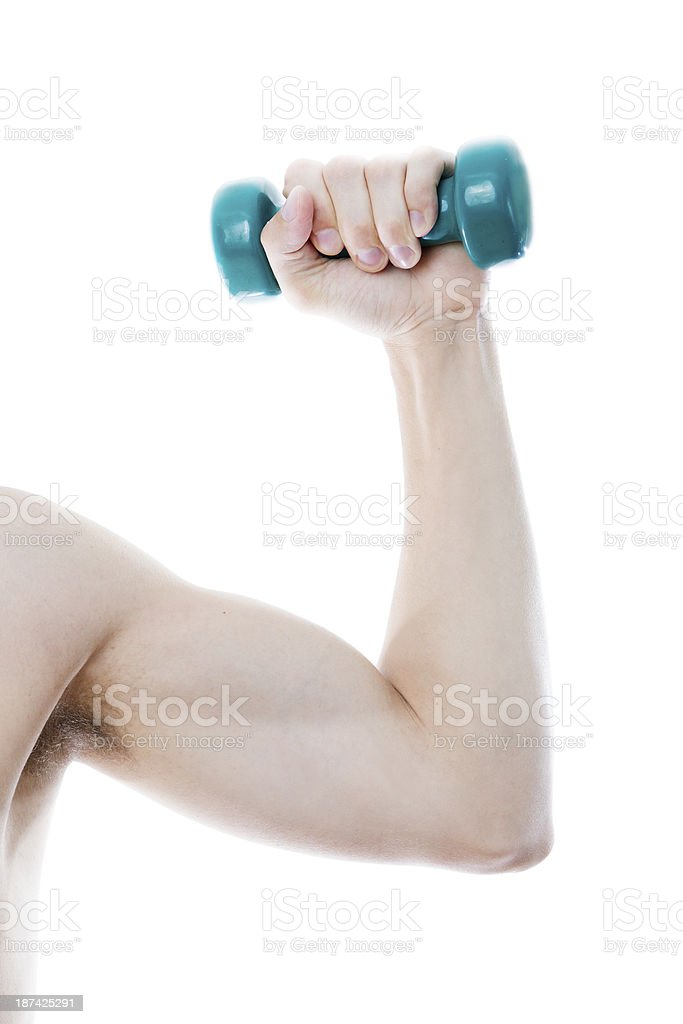 Raised up hand with dumbbell royalty-free stock photo