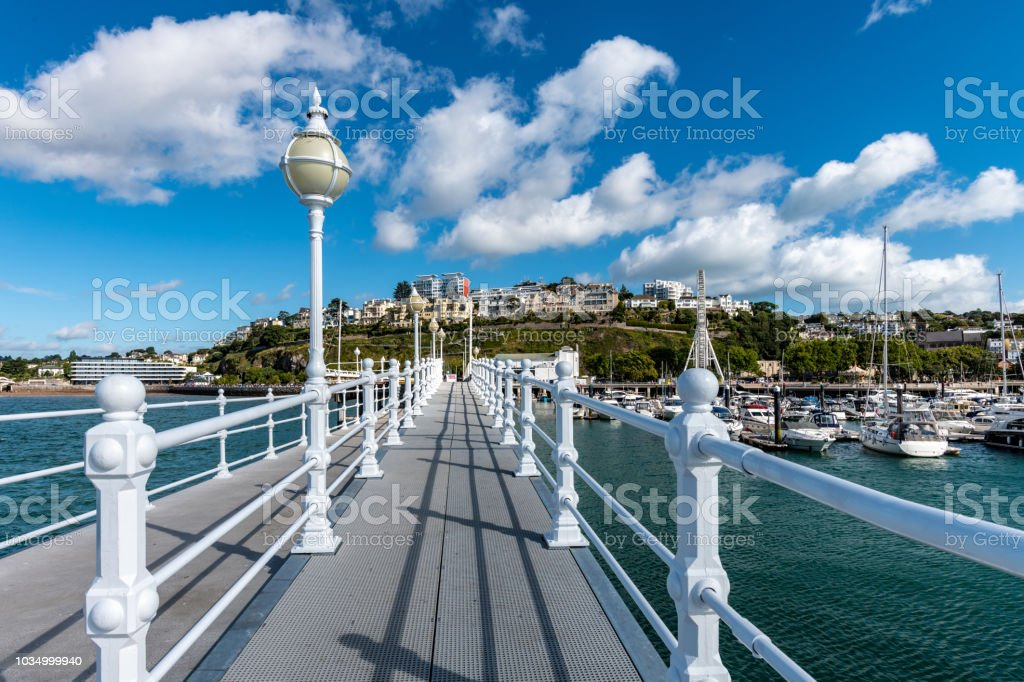 Raised walkway on Princess Pier in Torquay, Devon stock photo