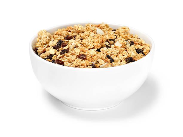 passas & amêndoa muesli cereais de pequeno-almoço - granola imagens e fotografias de stock