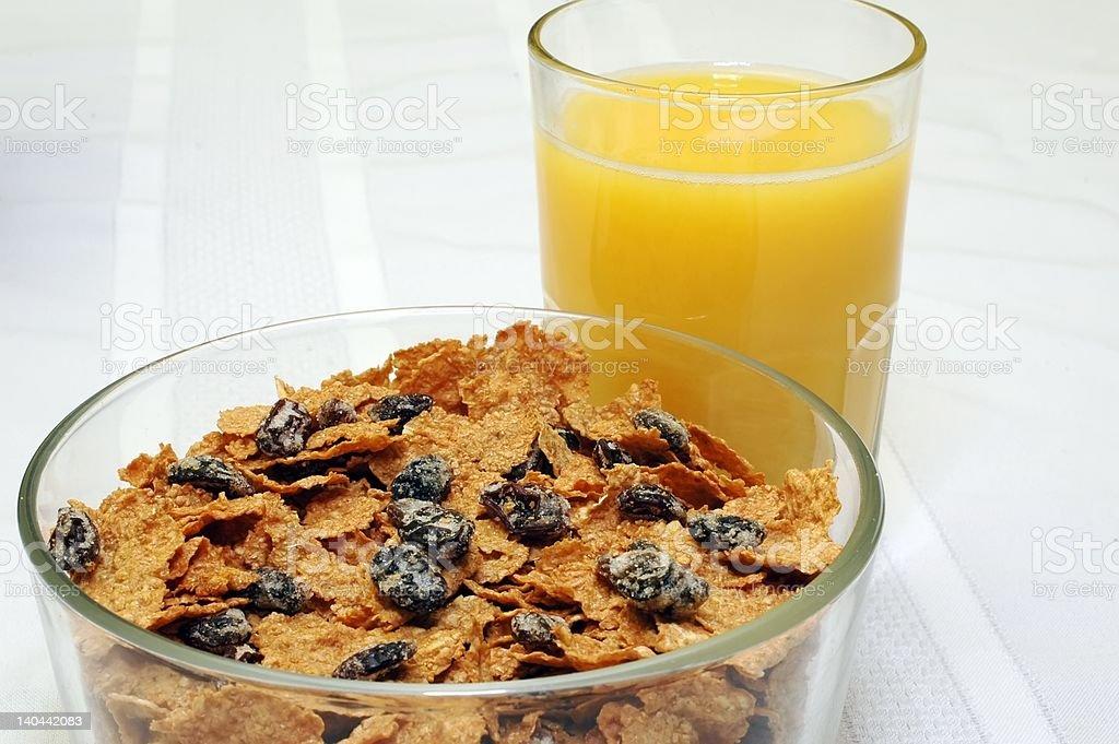 Raisin Bran and Orange Juice stock photo