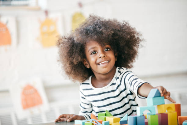 Raising a happy and confident child stock photo