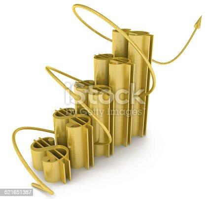 istock 3D Raising Business Dollar Graph 521651387